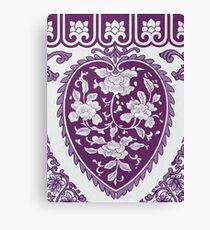 Purple And White Heart Shape Vintage Oriental Floral Pattern Drawing Canvas Print