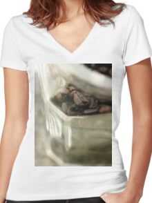 Coffee in Glass, Pattern, Macro Photo - fine art - still life - interior decoration, for bar & restaurant, n° 4, texture Women's Fitted V-Neck T-Shirt