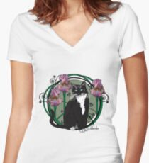 Black and White Cat with Irises Women's Fitted V-Neck T-Shirt