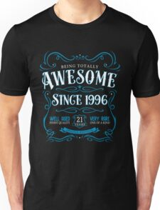 21st Birthday Gift Awesome Since 1996 Blue Unisex T-Shirt