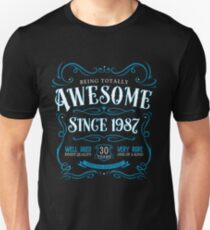 30th Birthday Gift Awesome Since 1987 Blue Unisex T-Shirt