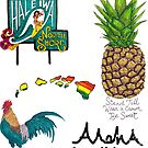 Hale'iwa Sign Drawing - STICKER PACK / WOMAN by northshoresign