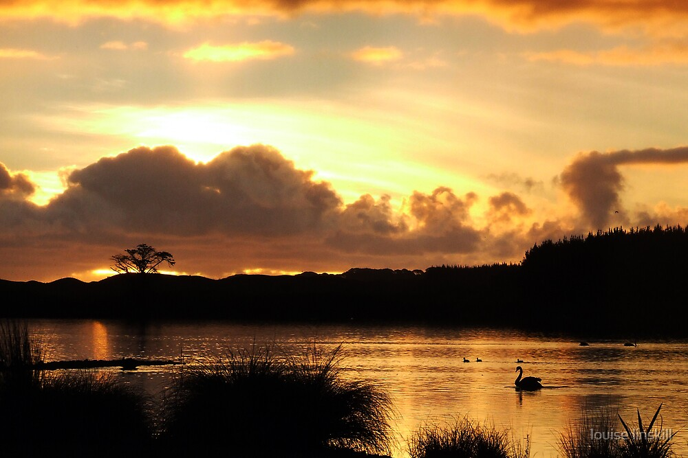 sunset on the lake by louise linskill