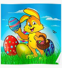 Easter bunny rabbit with Easter basket Poster