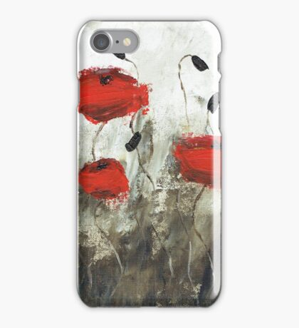Poppies (green background) iPhone Case/Skin