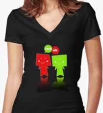 YOU+ME Women's Fitted V-Neck T-Shirt