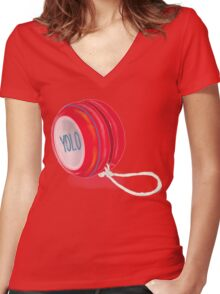 Yolo Yo-yo Women's Fitted V-Neck T-Shirt