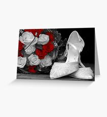 wedding bouquet and bride shoes Greeting Card