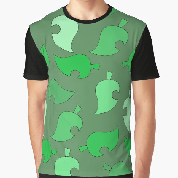 Animal Crossing Leaves Green Background Graphic T-Shirt