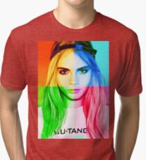 Cara Delevingne pencil portrait 3 Tri-blend T-Shirt