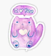 I Heart You Pink Watercolor Cat Sticker