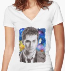 Doctor Who No.10 - David Tennant 1 Women's Fitted V-Neck T-Shirt