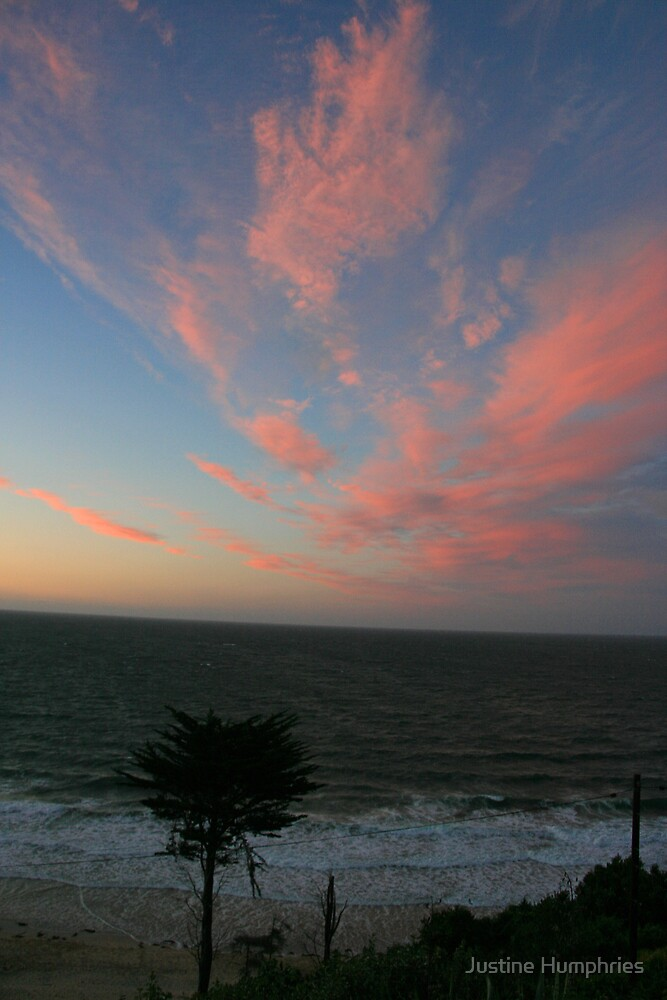 Pink Sky over Carbis Bay by Justine Humphries