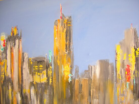 Cityscape-Brisbane View from Highgate Hill by gillsart