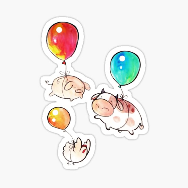 Watercolor Balloon Cow, Pig and Chicken  Sticker