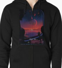 Trappist 1 -- Space Travel Poster Zipped Hoodie