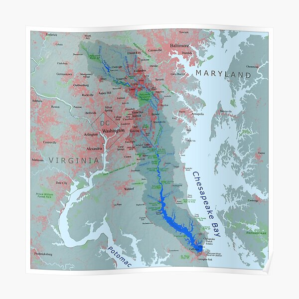 Patuxent River Watershed Map Poster