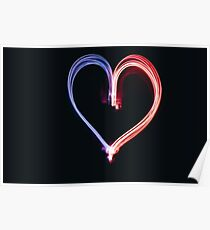 Red and Blue Heart Lights Poster
