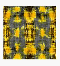geometric plaid pattern painting abstract in yellow brown and black Photographic Print