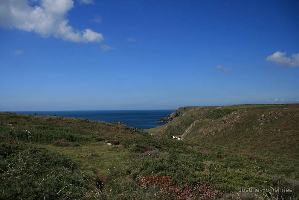 View across the headland at Kynance Cove by Justine Humphries