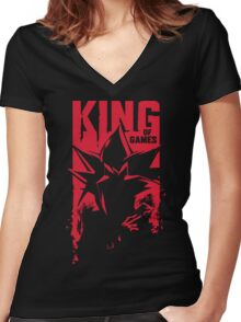 King of Games Women's Fitted V-Neck T-Shirt