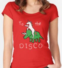 To The Disco (white text) Unicorn Riding Triceratops Women's Fitted Scoop T-Shirt