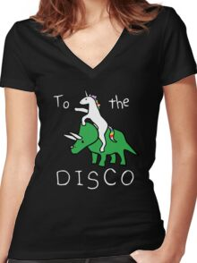 To The Disco (white text) Unicorn Riding Triceratops Women's Fitted V-Neck T-Shirt