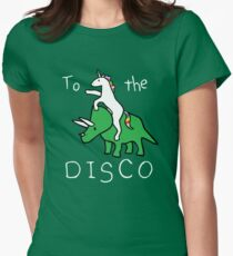 To The Disco (white text) Unicorn Riding Triceratops Womens Fitted T-Shirt
