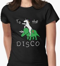 To The Disco (white text) Unicorn Riding Triceratops Women's Fitted T-Shirt