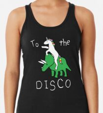 To The Disco (white text) Unicorn Riding Triceratops Women's Tank Top