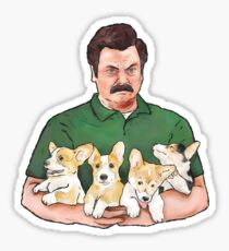 Pegatina Ron Swanson Holding Corgi Puppies