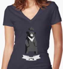 Moon Bear Women's Fitted V-Neck T-Shirt