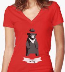 Moon Bear Women's Fitted V-Neck T-Shirt