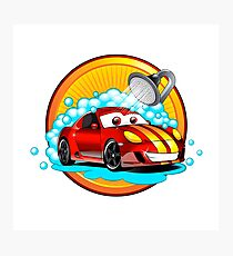 Funny cartoon Car wash auto cleaner  Photographic Print