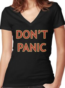 Don't Panic - Hitchhiker's Guide to the Galaxy Women's Fitted V-Neck T-Shirt