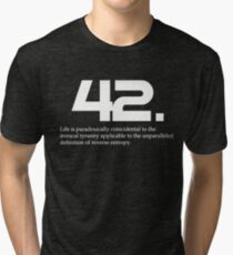 The meaning of life is 42 - Hitchhiker's Guide to the Galaxy Tri-blend T-Shirt