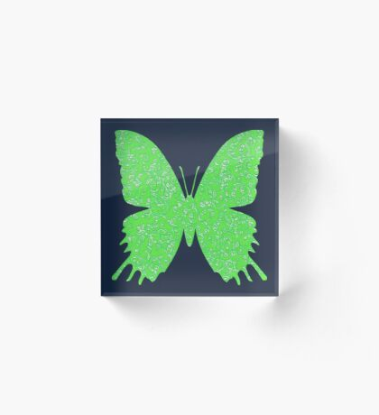 #DeepDream Lime Green color Butterfly Acrylic Block