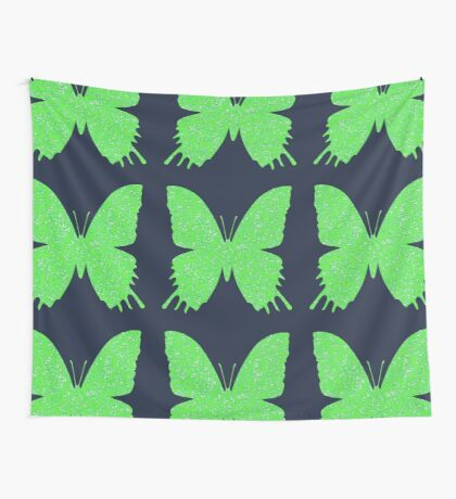 #DeepDream Lime Green color Butterfly Wall Tapestry