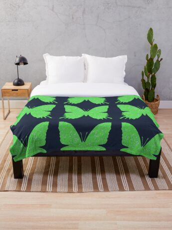 #DeepDream Lime Green color Butterfly Throw Blanket