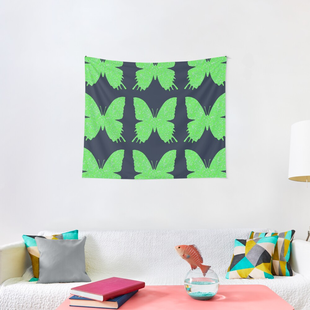 #DeepDream Lime Green color Butterfly Tapestry