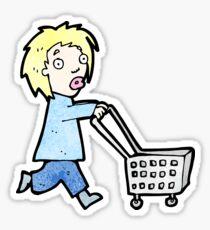 cartoon woman pushing shopping trolley Sticker