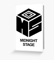 Midnight Stage - Black with text Greeting Card
