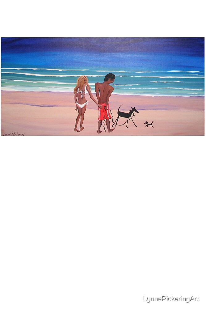 LOVERS ON BEACH WITH DOGS ART ORIGINAL PAINTING SEASCAPE by LynnePickeringArt