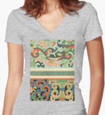 Colorful Pastel Tone Vintage Oriental Girly Floral Pattern Artwork Women's Fitted V-Neck T-Shirt