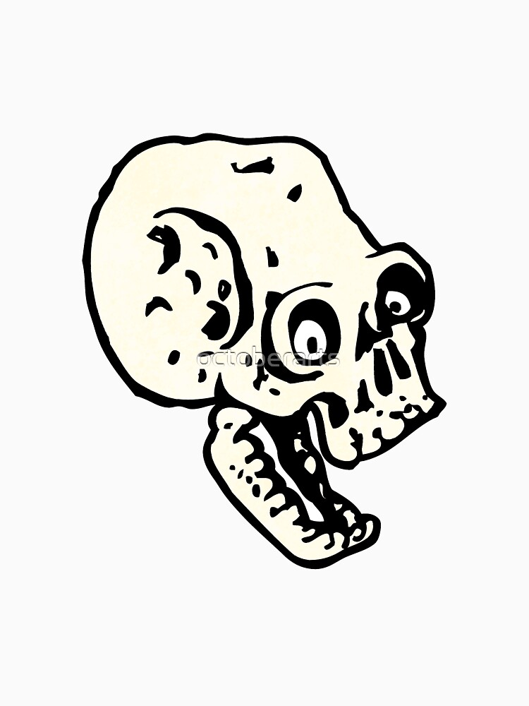 cartoon scary skull by octoberarts