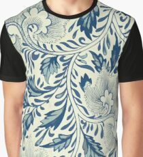 Abstract Vintage Floral Pattern In Blue And Creamy White With Spring Branches Leaves And Flowers Graphic T-Shirt