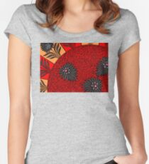 Red Black And Orange Vintage Floral Ornament Decor Pattern Women's Fitted Scoop T-Shirt