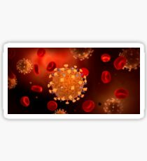 Conceptual image of influenza causing flu virus. Sticker
