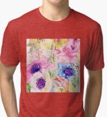 Floral sketch watercolor hand paint Tri-blend T-Shirt