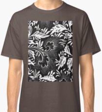 Black And White Retro Oriental Flower Art Doodle - Vintage Asian Ornamental Pattern Classic T-Shirt